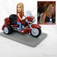 Девушка езда мотоцикл спортивная кукла из полимерной глины дети Статуэтка с фото настоящее лицо подарок на день рождения Декор интерьера д
