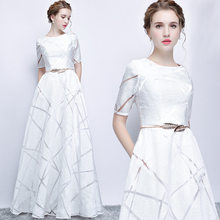 UIZVTIK Summer Dress For Women 2019 Elegant Formal Ball Gown Long Party Dress Female Casual Plus Size Slim Maxi Dresses White(China)