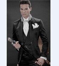 New Arrival Embroidery Groomsmen Mandarin Lapel Groom Tuxedos Black Men Suits Wedding/Prom Best Man (Jacket+Pants+Vest) C12