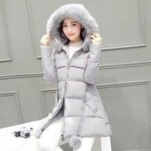 plus size thickening down coat female 2016 fashion large fur collar winter jacket women slim parka ladies medium-long outerwear