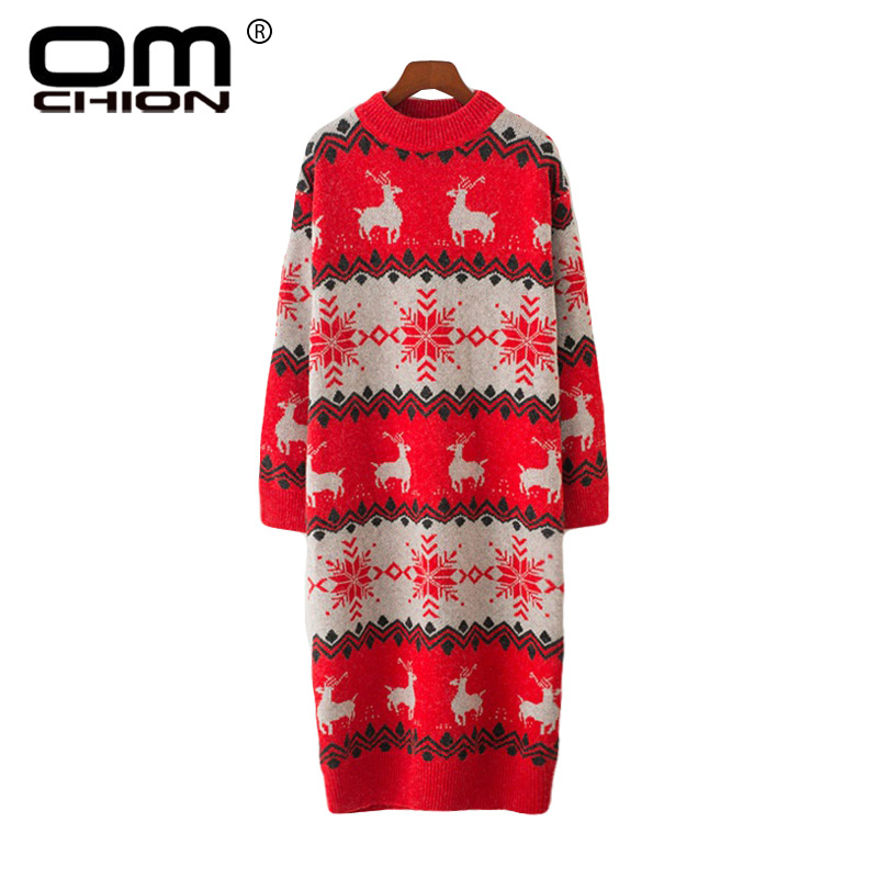 Have An Inquiring Mind Omchion 2018 Autumn Winter Ugly Christmas Sweater Women Half Turtleneck Knitted Long Pullover Deer Snow Korean Jumpers Lmm48
