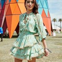 Bellflower Gypsy Playdress Dress 2019 Long Sleeve Summer Dress Mini Women Dresses Rayon Turquoi Separty Boho Dress Vestidos Rode