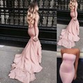 2017 Elegant Pink Sleeveless Celebrity Evening Dresses Long Strapless Tiered Satin Party Prom Gowns For Women Vestidos de Novia