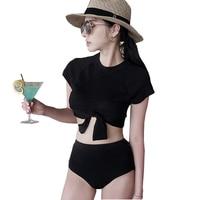 2017 Newest Style High Waist Bikini Sexy Women S Swimsuit Crop Top Short Sleeve Swimwear Bathing