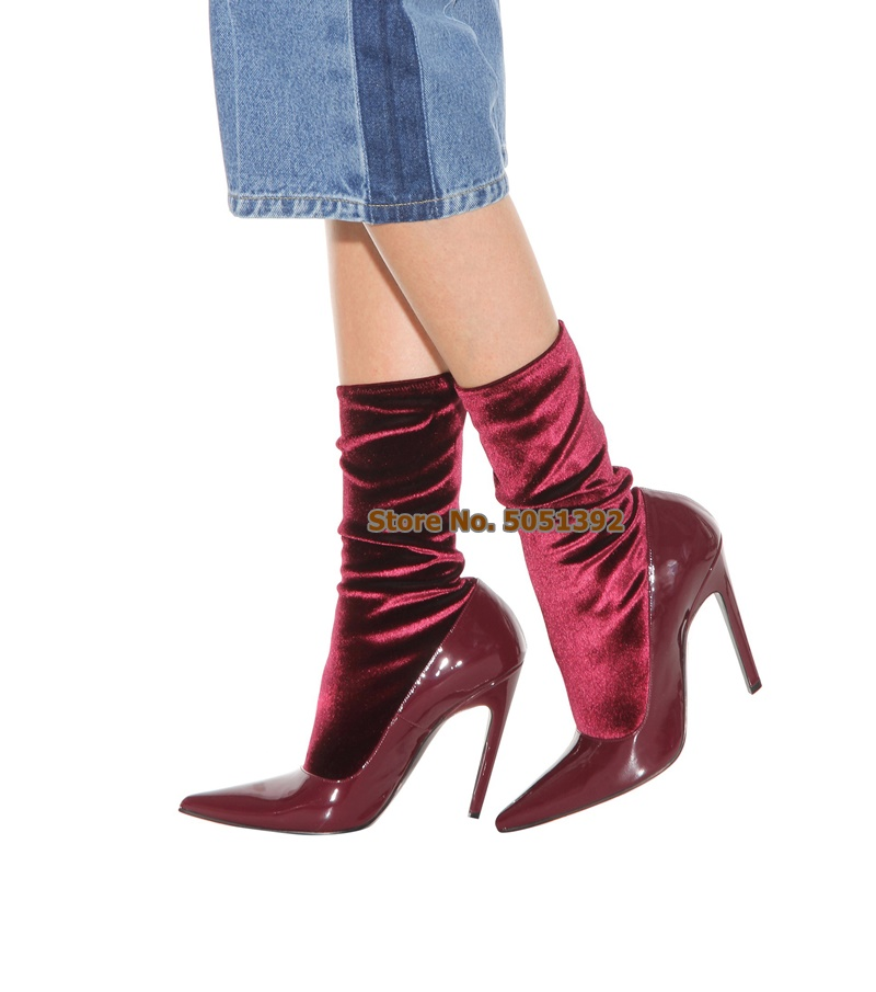 Women High Thin Heel Pointed Toe Mid calf Boots Patent Leather Patchwork Velvet Elastic Boots Fashion Sock Boots Wine Red Plus