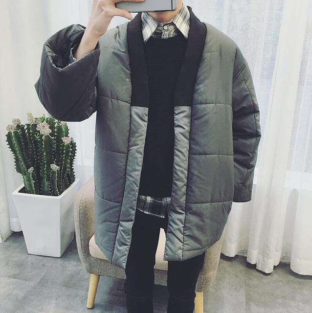 2017 Harajuku Moda Marca Designer Japonês Kimono Jaqueta Acolchoada Acolchoado Dos Homens Casual Cool Homens Parka Inverno dos Revestimentos do Revestimento