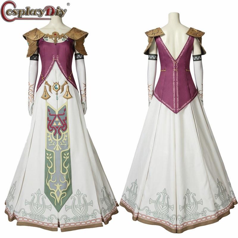 Us 127 8 10 Off Cosplaydiy The Legend Of Zelda Twilight Princess Cosplay Costume Halloween Zelda Princess Clothing Dress Headwear Custom Made In