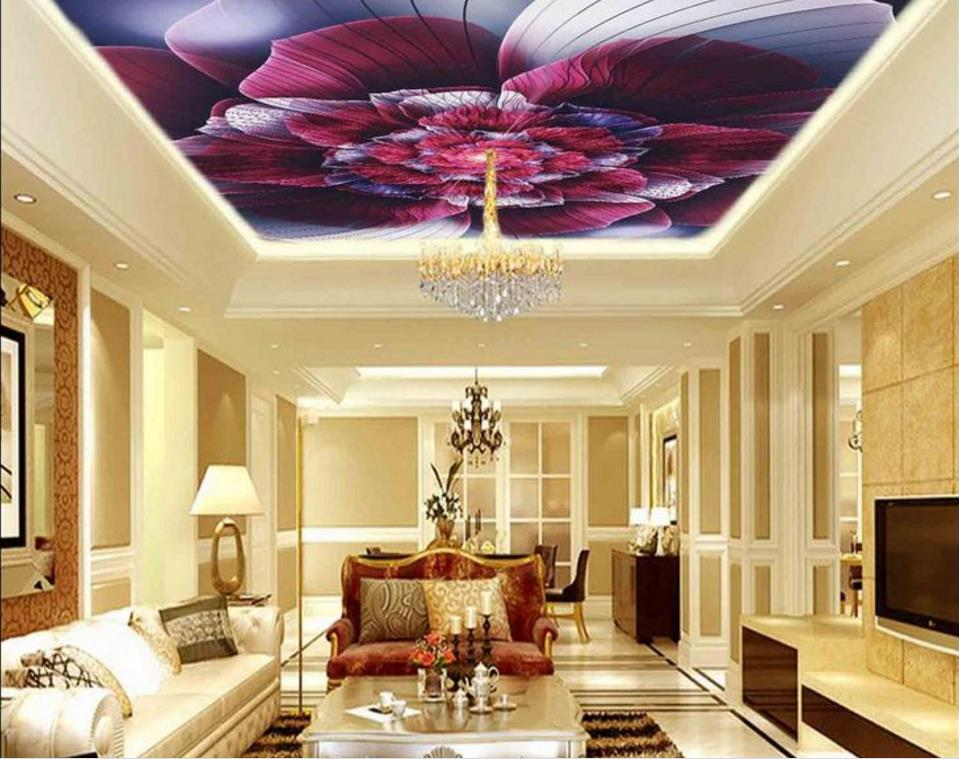 3d Custom Wallpaper Roses Photo Ceiling Wallpapers Living room European-style Decorative Murals Ceiling Background nid d ange брюки roses