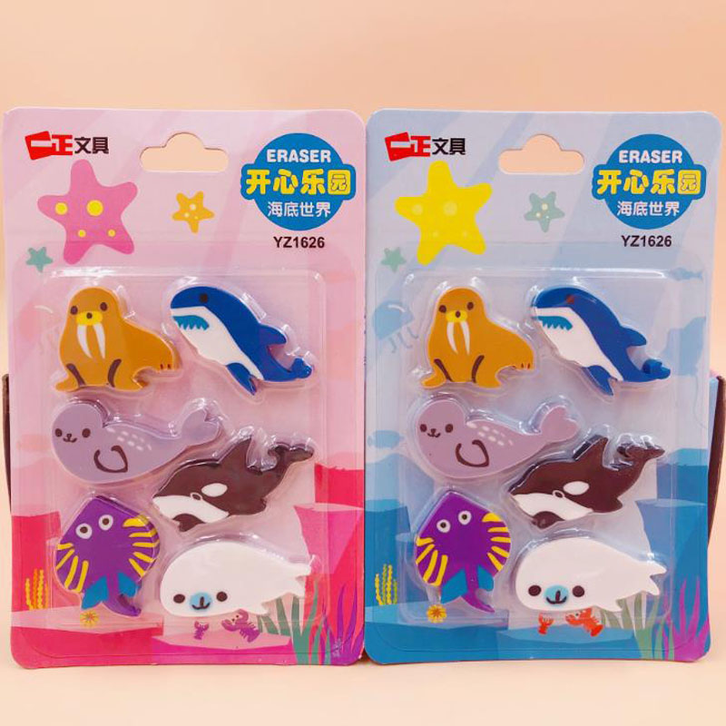 6 Pcs/pack Cartoon Marine Sea Animals Dolphin Whale Seal Rubber Pencil Erasers Mini Fish Correction Eraser Gift Stationery