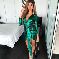 Sexy Deep V Neck Pleated Ribbon Decoration Sparkling Fabric Bldycon Going Out Reflective Dress GREEN