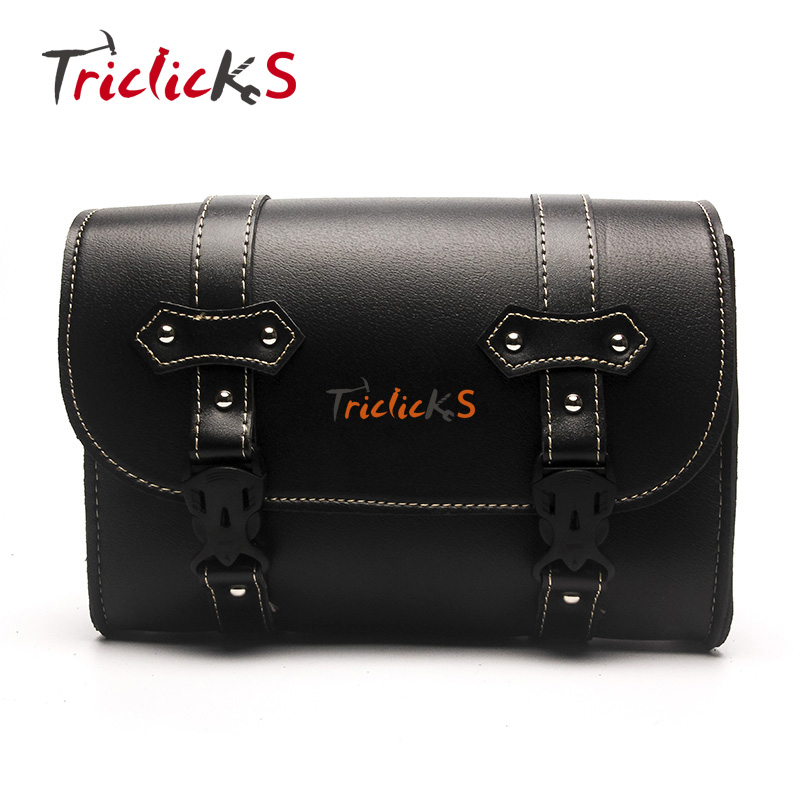 Triclicks Black Motorcycle Saddle Bags PU Leather Motorbike Side Tool Pouch Tail Bag Luggage Bag Universal
