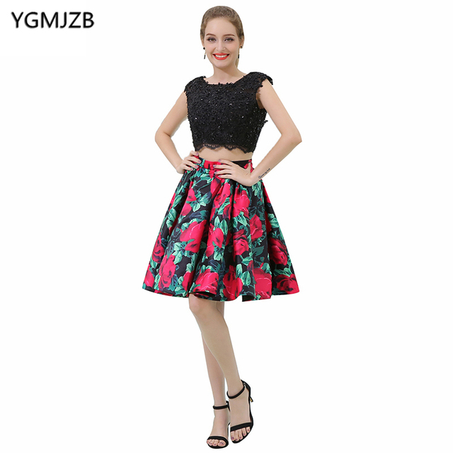 Short Cocktail Dresses 2018 A Line Scoop Cap Sleeve Beaded Appliques Lace Top Floral Print Two Pieces Prom Dresses Party Dresses