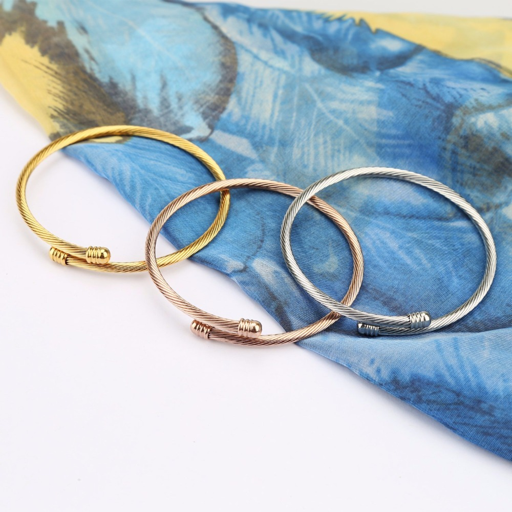 Triple 3 Titanium Steel Cable Wire Cuff Twisted Bangle Bracelet ...