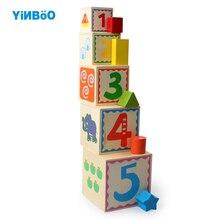 Cubos de madera para apilar y encajar formas geométricas
