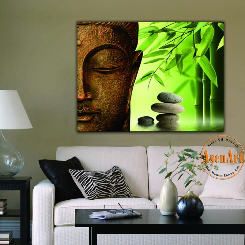 bambus stein blume buddha fr wohnzimmer moderne dekoration wandkunst leinwandbilder bild unframedchina - Buddha Deko Wohnzimmer