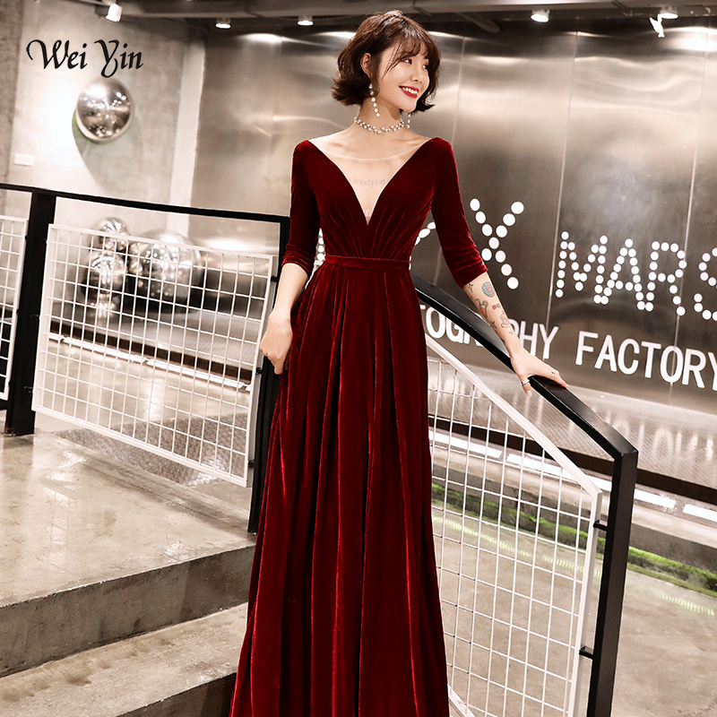 weiyin Robe De Soiree 2019 New Wine Red Sexy Long   Evening     Dresses   The Banquet V-neck Feathers Long Formal Party   Dresses   WY1492