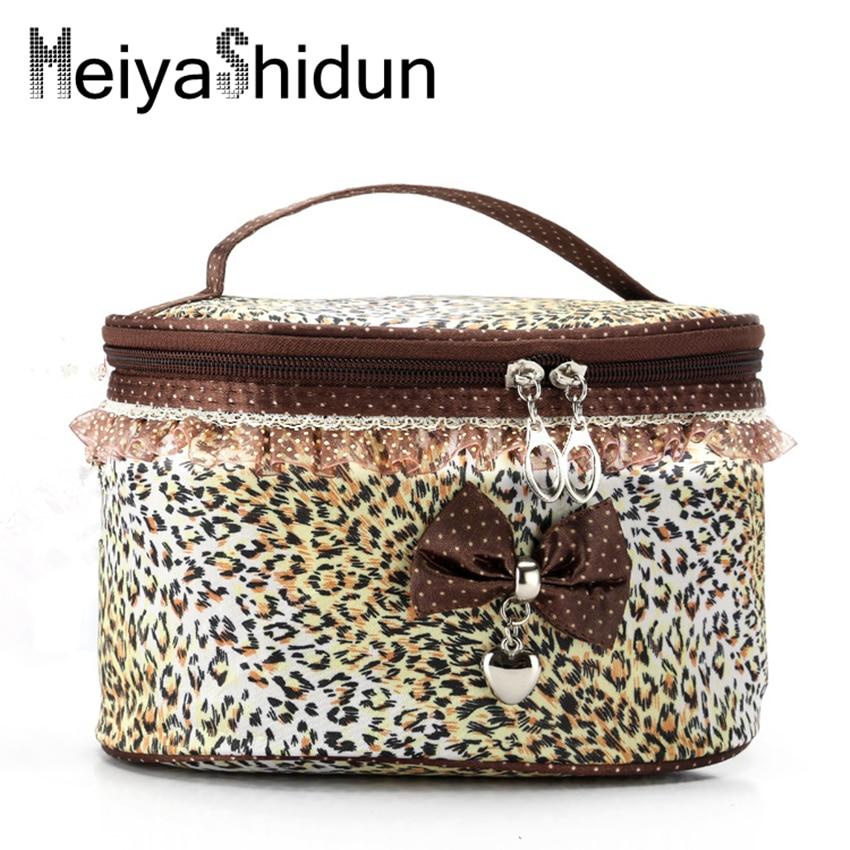 MeiyaShidun Bowknot Stripe Makeup Cosmetic Bag women Make Up Case Toiletry Wash Organizer Storage pouch Organiser Travel Neceser