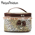 MeiyaShidun new Women Lace Bowknot toiletry makeup bag girls Portable Cartoon Storage Case Travel Make up Flannel Cosmetic Pouch