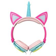 LIMSON 有線折りたたみイヤホン動物猫耳点滅 LED ユニコーンキッズヘッド少年少女のため