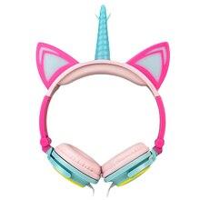 LIMSON Wired Foldable Earphones Animal Cat Ear Flashing LED Unicorn Kids Headphones for boys and girls