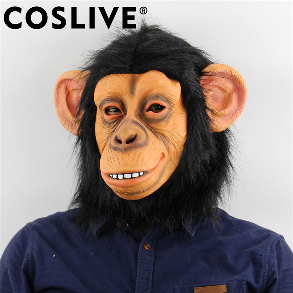 Coslive Christmas Funny Monkey Head Latex Mask Full Face Adult Breathable Halloween Holiday Party Masks Cosplay Costume Prop