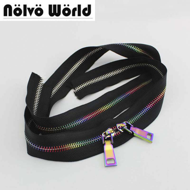 10Yards 5# Rainbow Metal Teeth Zipper,black Fabric No5 Metallic Rainbow Zippers For DIY Leather Bags,shoes Sewing