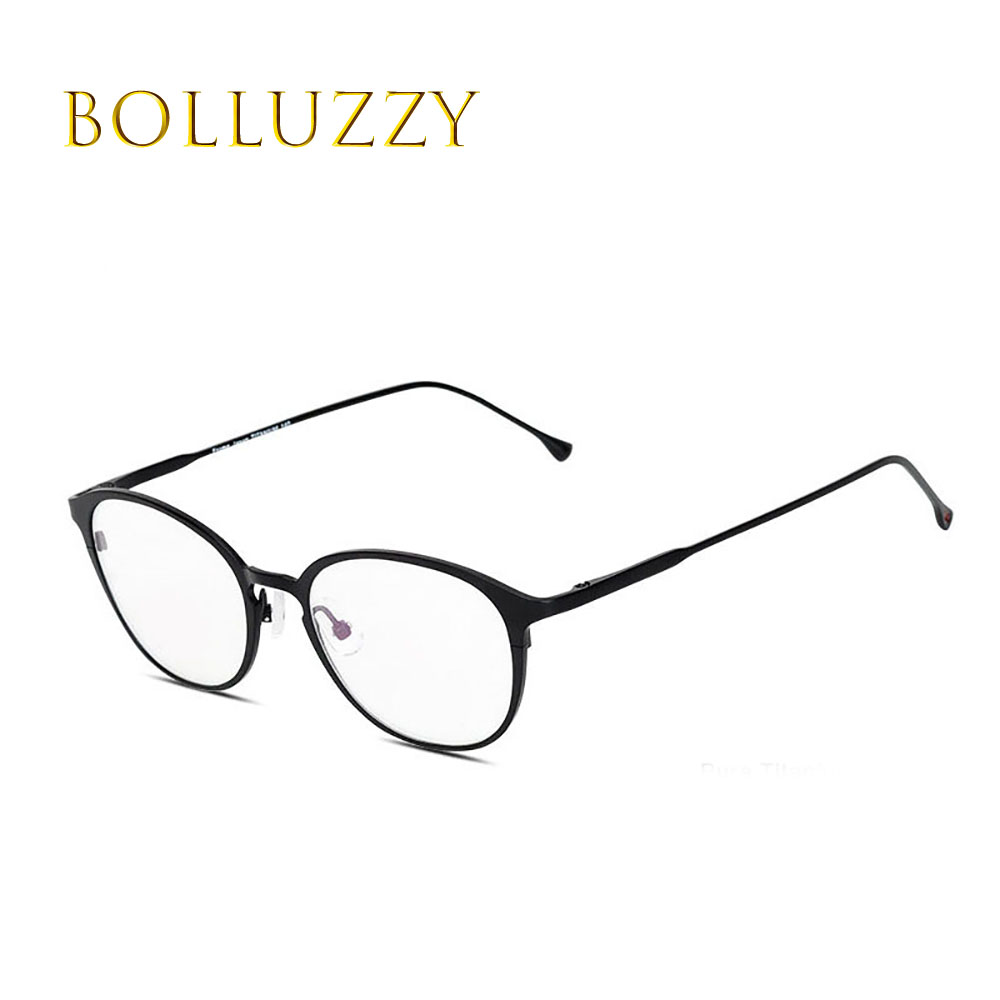 High quliaty pure titanium optical prescription round cat full rim man women golden eyeglasses frame eye