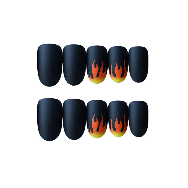 24pcs-Set-Punk-Fire-Pattern-Matte-False-Nails-Dark-Black-Pre-design-Short-Round-Head-Full(2)