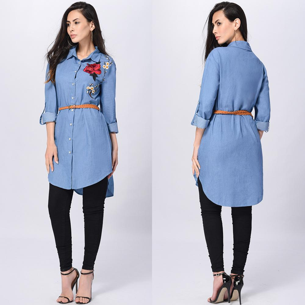 Fashion High Quality Embroidery Girls Denim Shirt Casual Turn Down