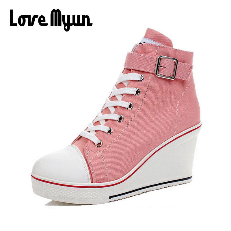 Big size Girl Canvas Shoes Wedges Shoes High Top Pumps Women high top Casual Shoes Female Height Increasing Platform shoes NN-82 forudesigns women fashion high top flats shoes cool skull design female height increasing platform shoes for teenage girls shoes