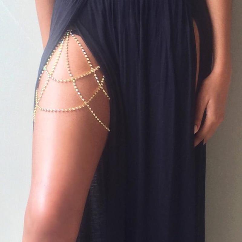 StoneFans Crystal Body Thigh Chain Garter Jewelry Shiny Lingerie Women Rhinestone Body Jewelry Leg Thigh Chain Gift for Her 6