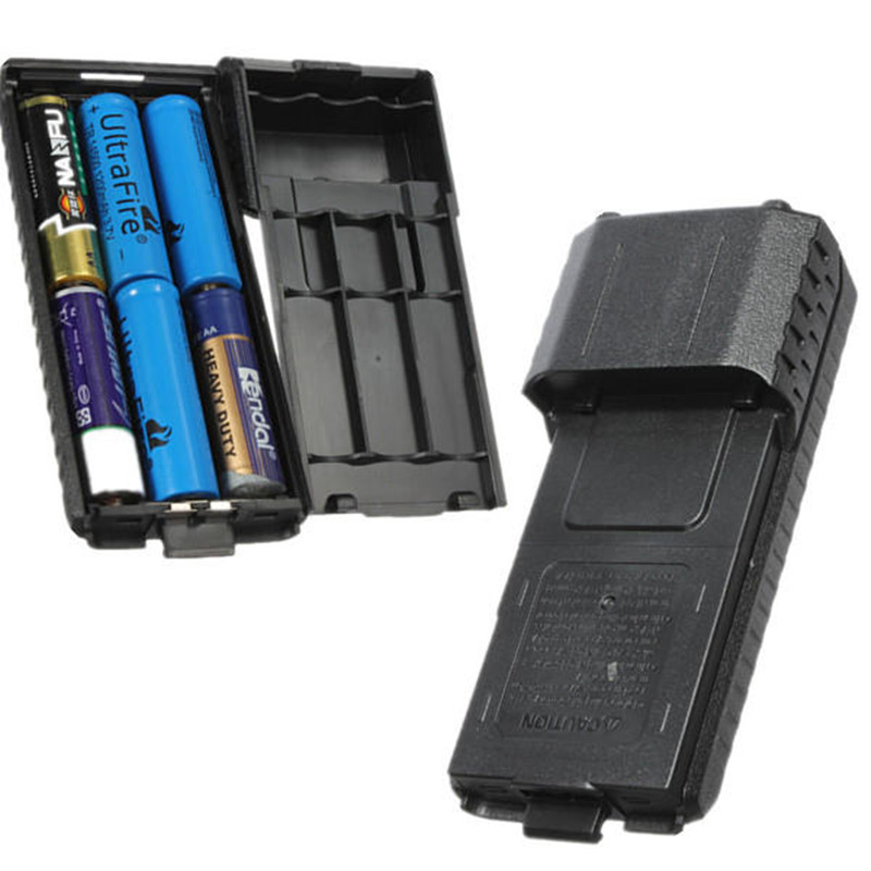 Portable Black Extended 6x AA Battery Case Pack Shell For BaoFeng UV5R UV5RB UV5RE Walkie Talkie