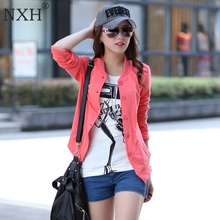 NXH 2017 New Arrival Spring Autumn Women's Cotton thin jackets Girl Slim Simple Long sleeve Veste Female Clothing Tops Pink Blk