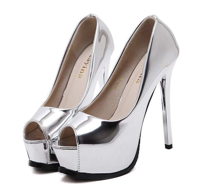 Popular Silver Peep Toe High Heels-Buy Cheap Silver Peep Toe High