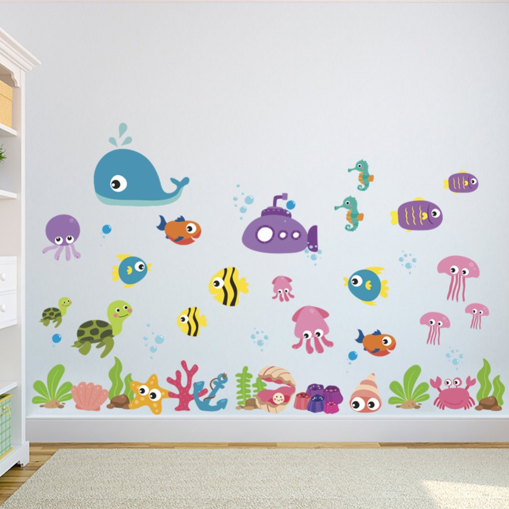 Catoon Lovely Seabed Fish Wall Stickers Kids room Nursery Baby room Bathroom Wall Decor Removable Eco-friendly Vinyl DIY Decals