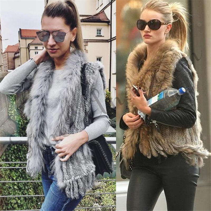 Natural Coelho Fur Vest Com Raccoon Fur Collar Festa Colete casacos de malha Coletes mulheres colete de lã colete de pele de coelho