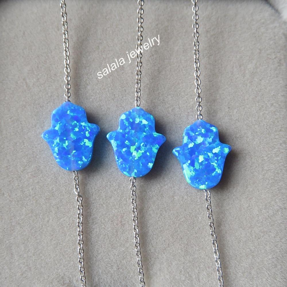 10pcs Lot Op05 Blue Opal Bracelet Adjule 925 Sterling Silver Hamsa Synthetic For Gift In Cuff Bracelets From Jewelry