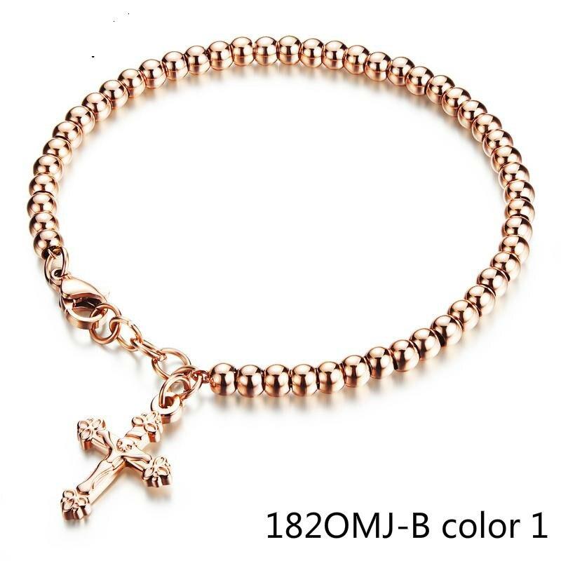 Мода покрытие розовое мэм Браслет Крест Ленточки Сеть ювелирных изделий из бисера браслеты для женщин pulseira masculina 182OMJ shoubiao