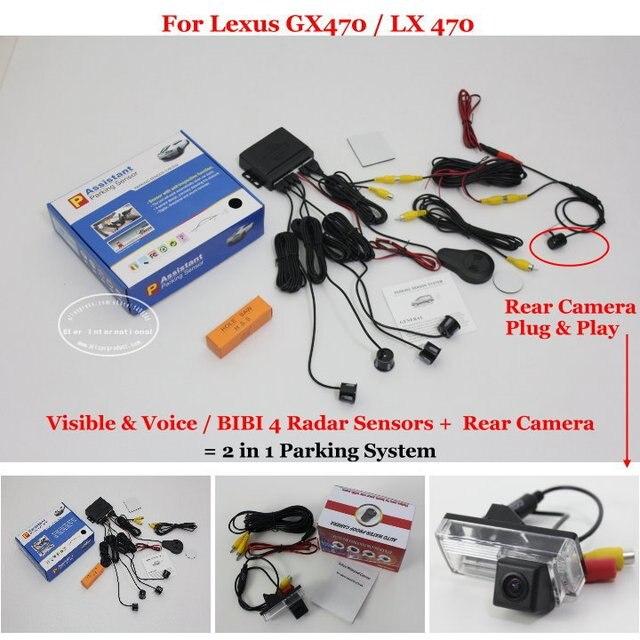 Car Parking Sensors + Rear View Camera = 2 in 1 Visual /BIBI Alarm Parking System For Lexus GX470 / LX 470