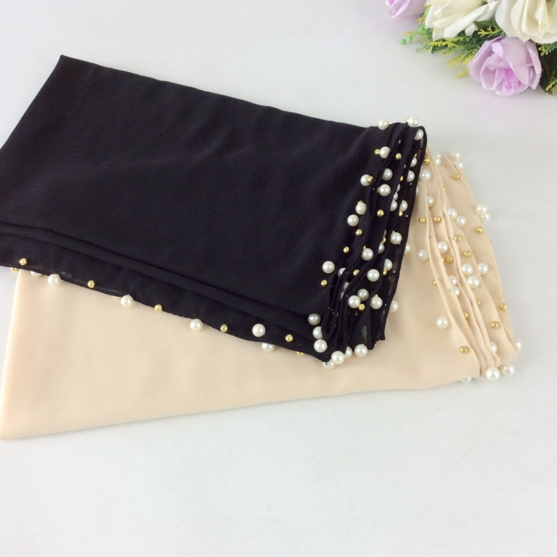Plain Bubble Chiffon With Pearls Women Shawl Musilim Hijab Long   Scarf     Wrap   2017 High Quality Shawls   Wraps   Shawls And   Scarves