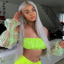 Cryptographic Off Shoulder Puff Sleeve Mesh Womens Tops and Blouses Neon Green Festival Blouse Shirts Summer Sexy Crop 2019