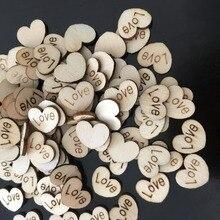 100 Uds. Artesanía de madera con forma de corazón de amor para mesa de boda decoración del hogar DIY Decoración de cumpleaños Favor de la fiesta Scrapbooking 62071