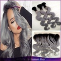3pcs With 13x4 Lace Frontal Peruvian Body Wave Ombre Human Hair Weaves T1B/Grey Two Tone Ombre Hair Extensions Free Shipping