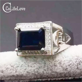 Luxury sapphire ring for man 7mm*9mm genuine black sapphire pure 925 sterling silver man ring from biggest Chinese sapphire mine