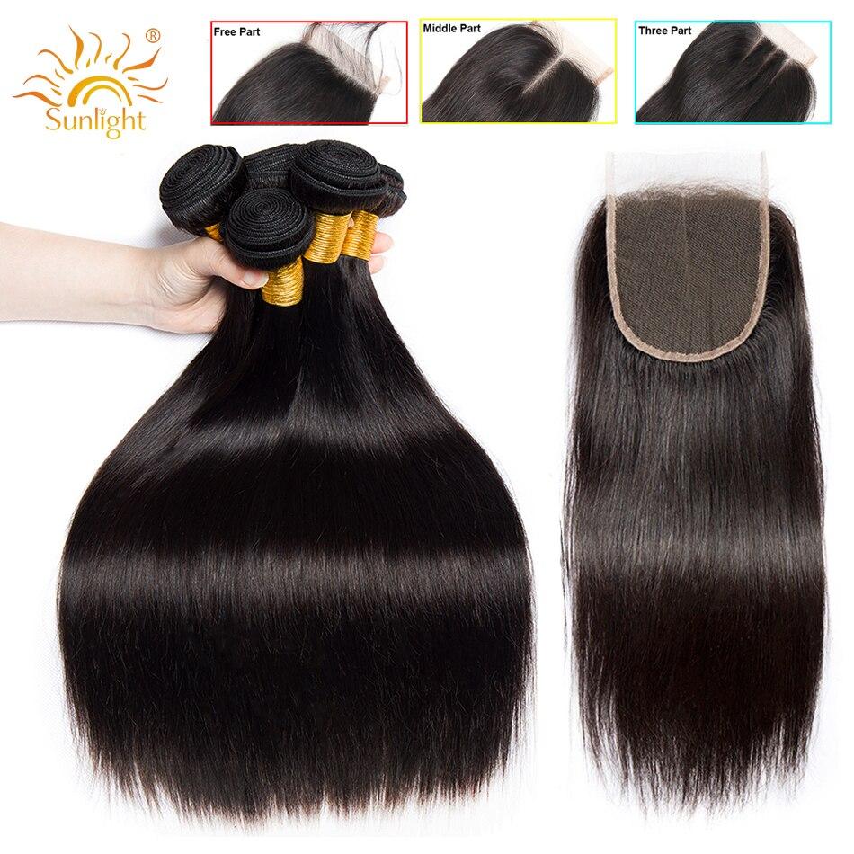 Straight Hair Bundles With Closure Peruvian Hair Weave Bundles With Closure Sunlight Human Hair Bundles Non
