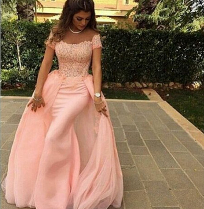 2019 New Pin Mermaid Long   Prom     Dresses   Off the Shoulder Lace Appliques Tulle Teens   Prom   Party   Dress   With OverSkirt