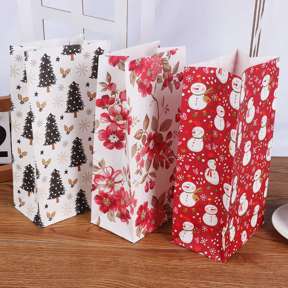 1 pc Natal Impressão Alimentos Biscoito Sacos do Carrinho de Saco de Embalagem de Presente de Papel Favor Do Presente da Festa de Aniversário Do Floco De Neve Do Boneco de neve Da Árvore de Natal