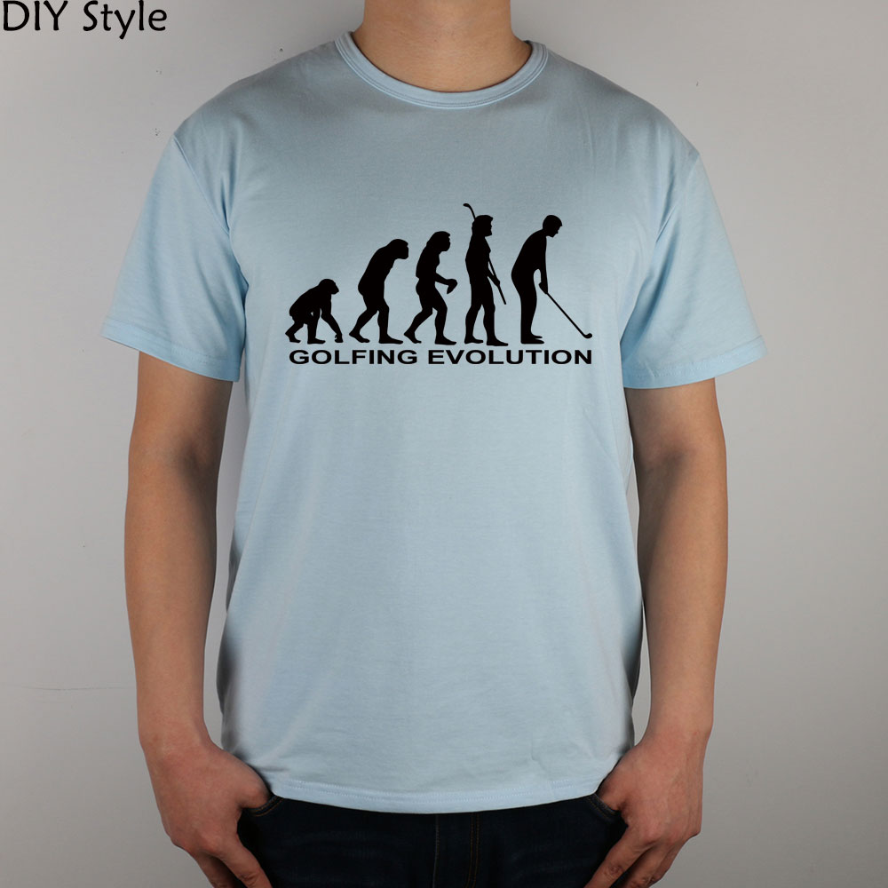 GOLFING EVOLUTION FUNNY T-shirt Top Lycra Cotton Men T shirt New DIY Style