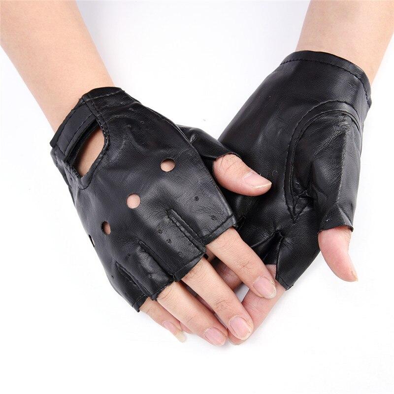 1 Pair Women Fashion PU Leather Half Finger Driving Gloves Fingerless Gloves Black Color Wholesale