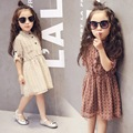 2-7Y, 2016 New Autumn Summer Girls Dress Kids Long Sleeve Dress Children Chiffon Floral Dress Baby Pleats Dress